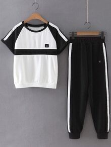 Black White Short Sleeve T-shirt With Pants Sportswear