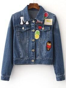 Blue Lapel Pockets Buttons Front Patch Denim Jacket
