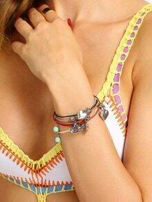 Multilayer Heart Shaped Pendant Bracelet
