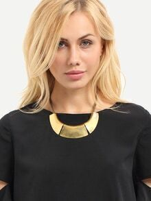 Gold Wide Metal Pendant Necklace