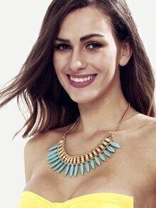 Blue Turquoise Rhinestone Pendant Necklace