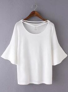 White Bell Sleeve Triangle Necklace Knit Blouse