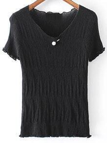 Black V Neck Pearl Ruched Knitted Short Sleeve Blouse
