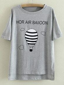 Grey Dip Hem Letters Hot Air Balloon Printing T-shirt