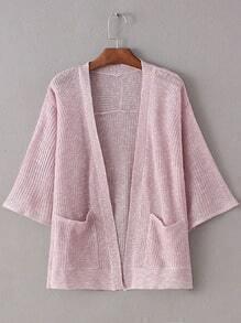 Pink Double Pockets Sunscreen Cardigan Knitwear