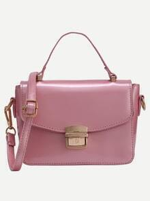 Faux Patent Leather Push-Lock Flap Bag - Pink
