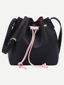 Color Block Faux Leather Drawstring Bucket Bag