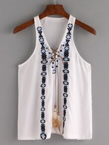 Lace-Up Embroidered Tank Top - White