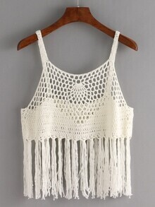 Fringe Trimmed Crop Crochet Cami Top - White