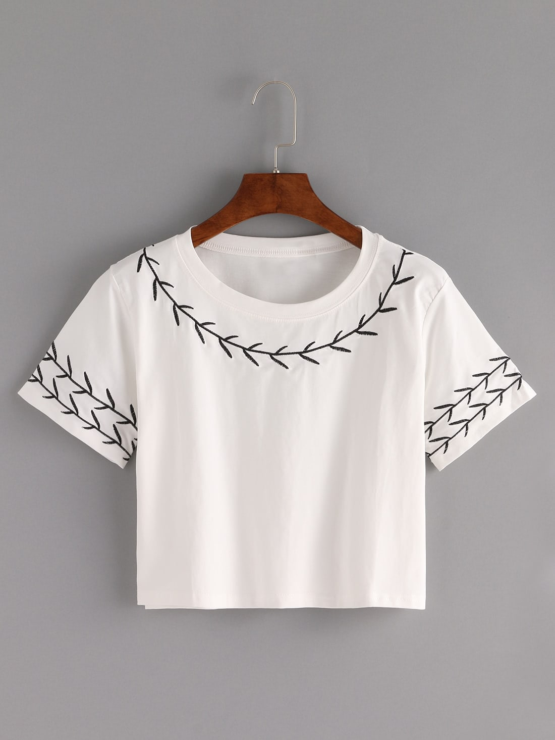 branch embroidered crop t shirt whitefor women romwe. Black Bedroom Furniture Sets. Home Design Ideas
