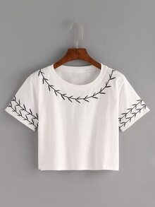 Branch Embroidered Crop T-shirt - White