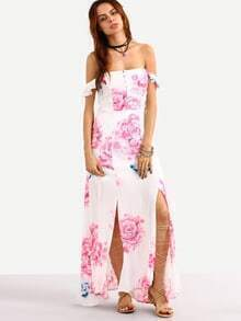 Off-The-Shoulder Multicolor Flower Print Maxi Dress