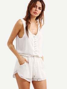 Lace-Up Sleeveless Chiffon Romper - White