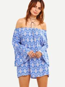 Off-The-Shoulder Tribal Print Bell Sleeve Blouse - Blue