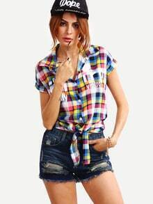 Letter Print Knot-Front Colorful Plaid Blouse