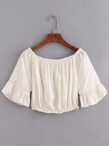 Off-The-Shoulder Ruffled Sleeve Crop Top - White