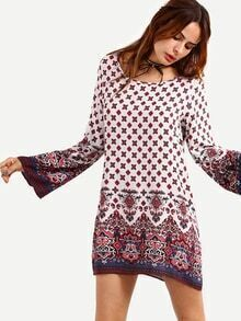 Paisley Print Bell Sleeve Dress - White