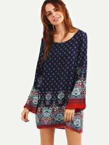 Paisley Print Bell Sleeve Dress - Navy