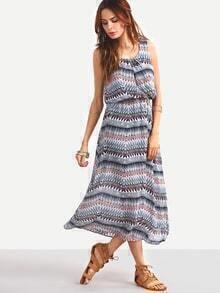 Multicolor Tribal Print Sleeveless Blouson Dress