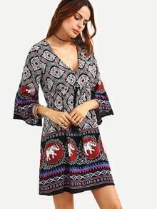 Double V-Neck Bell Sleeve Multicolor Tribal Print Dress
