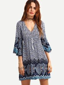 Buy Double V-Neck Bell Sleeve Multicolor Paisley Print Dress