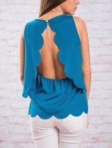 Scalloped Slit Back Tank Top - Blue