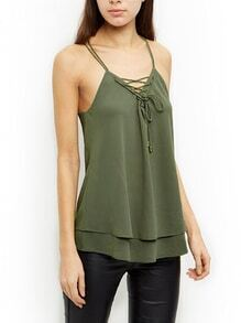 Strappy Lace-Up Chiffon Cami Top - Olive Green
