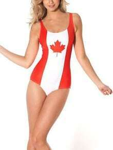 Maple Leaf Print One-Piece Swimwear
