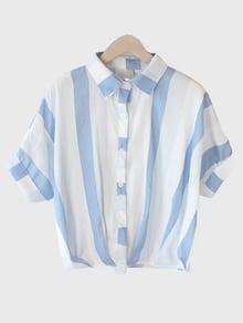 Bluse kurzarm mit Streifen - blau