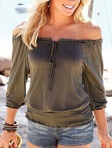 Drawstring Off-The-Shoulder Shirred Hem Top - Olive Green