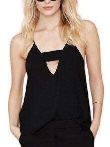 Cutout V-Neck Chiffon Cami Top - Black