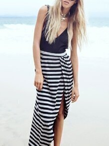 Deep V Backless Black White Striped 2 in 1 Dress