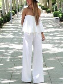 Flounce Bandeau Top With Pants - White