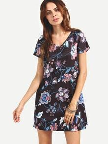 V-Neck Flower Print Shift Dress - Black