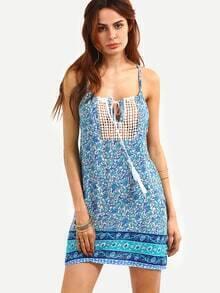 Lace Insert Tie-Neck Flower Print Cami Dress - Blue