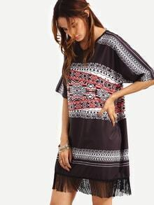 Fringe Trimmed Tribal Print Oversized Dress - Black