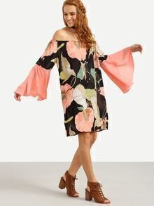 Off-The-Shoulder Bell Sleeve Multicolor Flower Print Dress