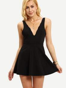 Deep-V Backless Sleeveless Skater Dress - Black