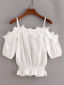 Lace Trimmed Cold Shoulder Peplum Top - White