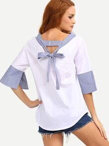 Vertical Stripe Trim Tie-Back Blouse - White