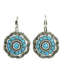 Blue Beads Flower Stud Earrings