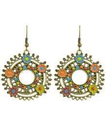 Enamel Flower Big Round Earrings