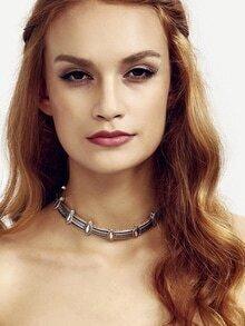 Silver Geometric Pattern Choker Necklace