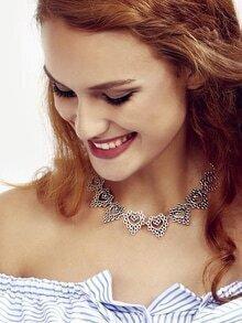 Ancient Silver Pierced Heart Choker Necklace