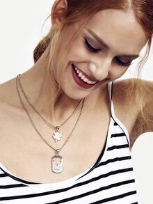 Silver Rhinestone Clover Pendant Necklace For Lover