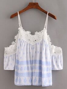 Lace Trimmed Cold Shoulder Printed Top - Light Blue