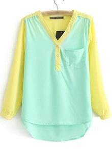 Multicolor Dip Hem Long Sleeve Pocket Blouse