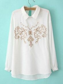White Keyhole Back Long Sleeve Embroidery Blouse