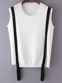 White Contrast Criss Cross Back Sleeveless Knit Blouse