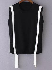 Black Contrast Criss Cross Back Sleeveless Knit Blouse
